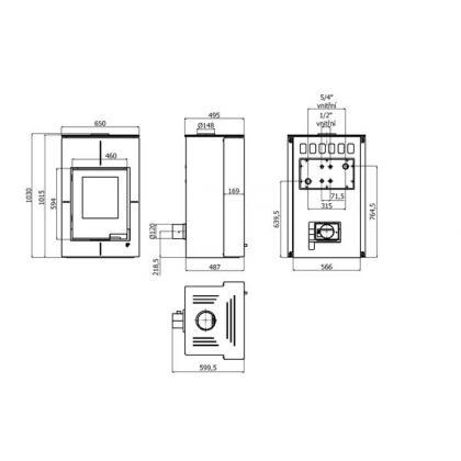 Krbová kamna AQUAFLAM VARIO SAPORO 11/5kW šedá, elektronická regulace