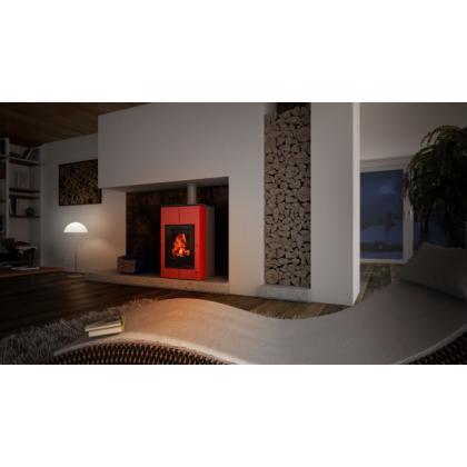 Krbová kamna AQUAFLAM VARIO SAPORO 11/7kW červená, elektronická regulace